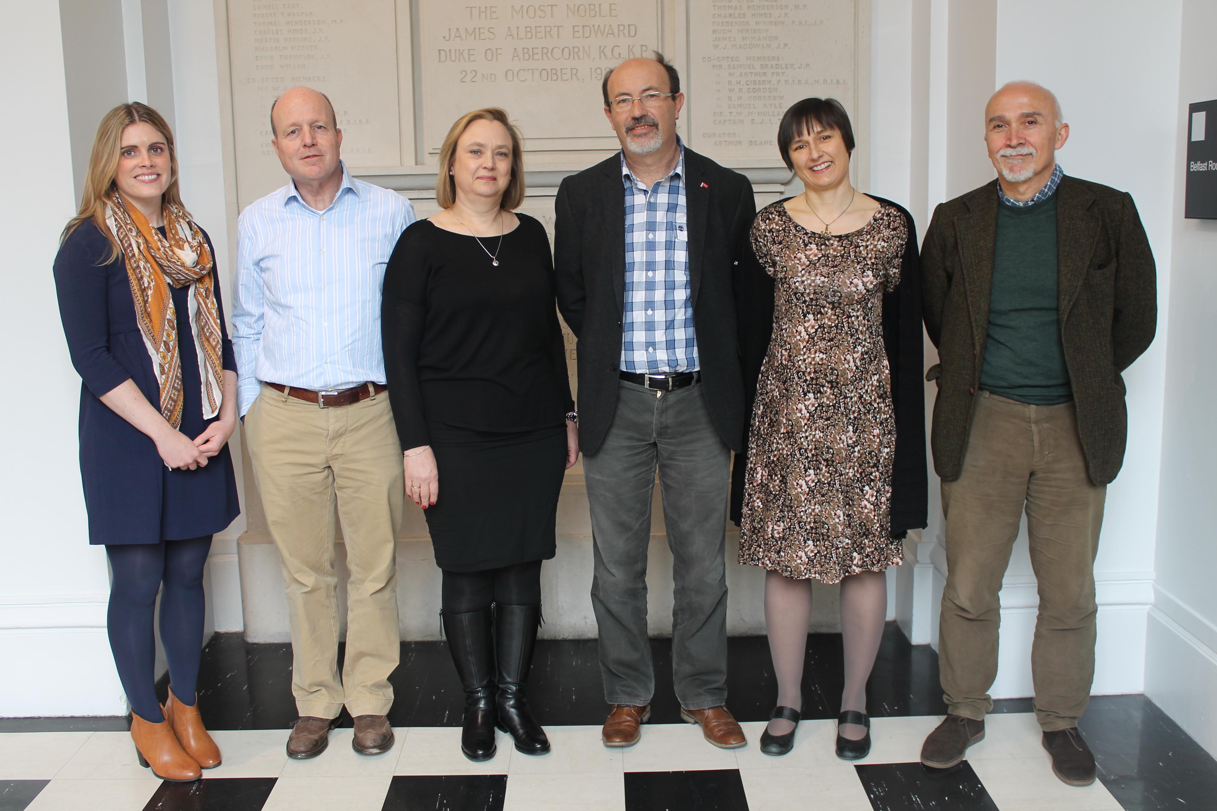 The new EUROCLIO Board (from right to left: Sinead Fitzsimons, Frank van den Akker, Lóa Steinunn Kristjánsdóttir, Mire Mladenovski, Riitta Mikkola, and Paolo Ceccoli).
